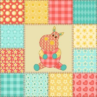 Hippopotamus patchwork pattern