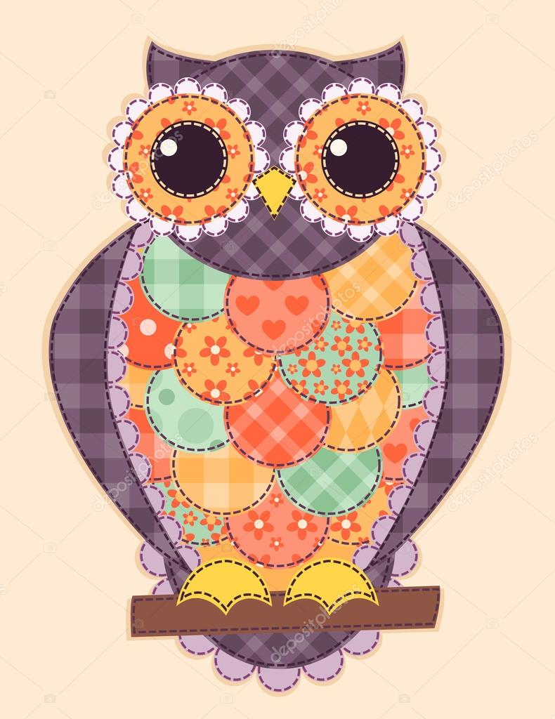 Colored patchwork owl
