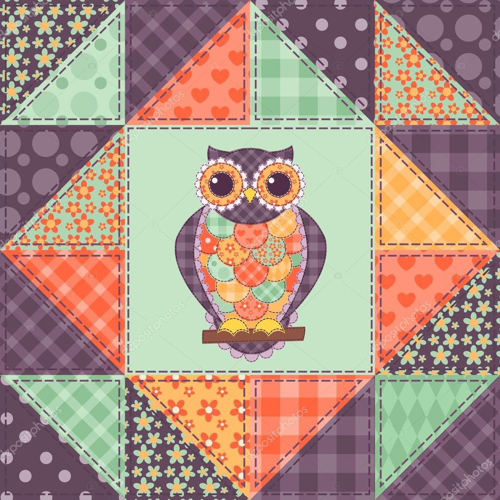 Seamless patchwork owl pattern 1