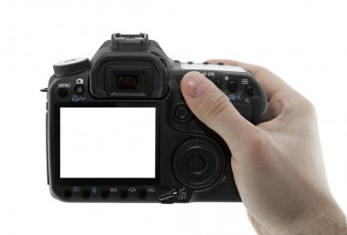 Photo camera in hand with clipping path