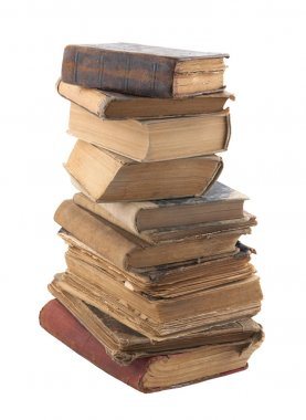 Stack of old books with clipping path stock vector