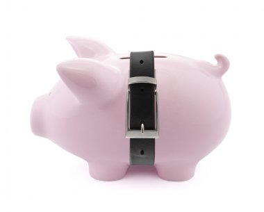 Piggy bank with a tight belt