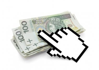 Computer hand cursor with polish money.