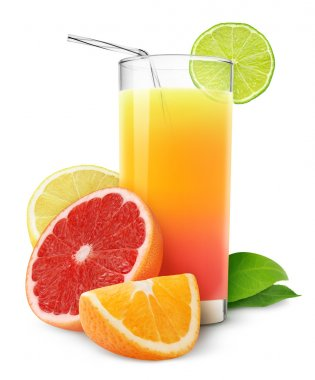 Fresh citrus juice isolated on white stock vector