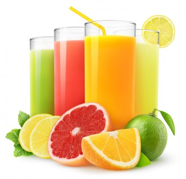 Fresh citrus juices isolated on white stock vector