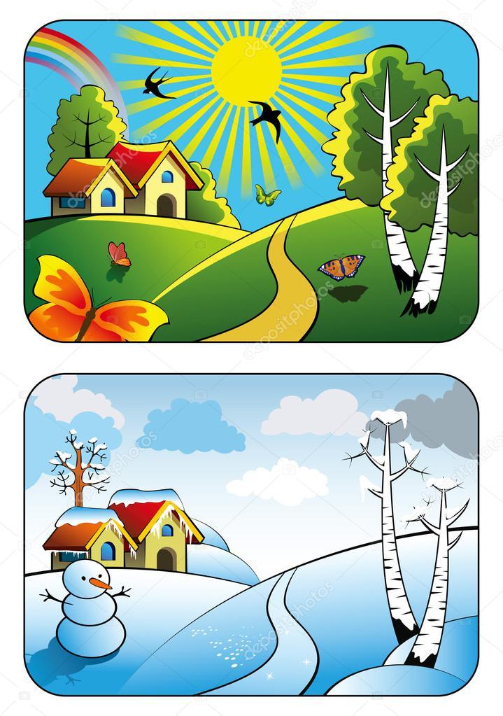 Картинка зима лето для детей