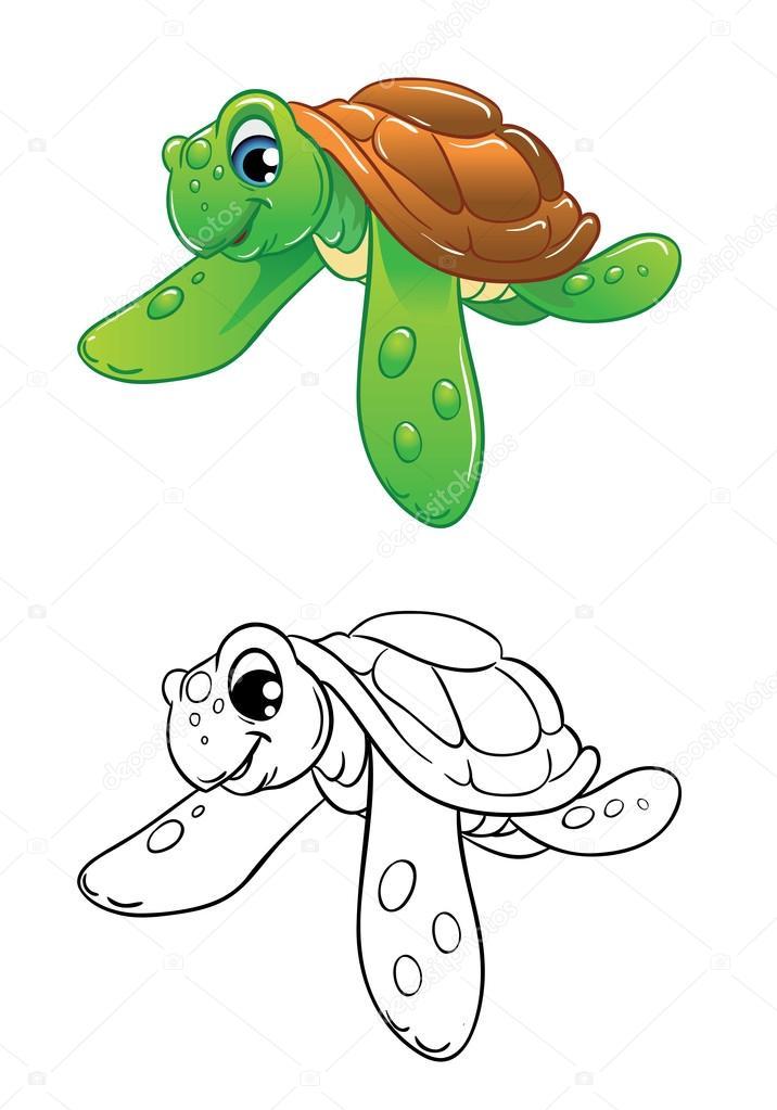 tortugas marinas, Ilustración color y contorno en blanco y negro ...