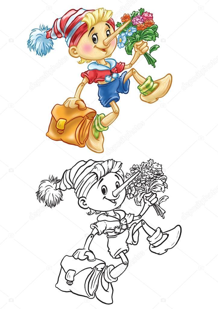 Pinokyo Boyama Okuyor Stok Foto Pleshko74 31335981
