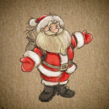 Hand drawing sketch Santa Claus