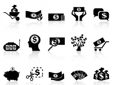 Black money icons set