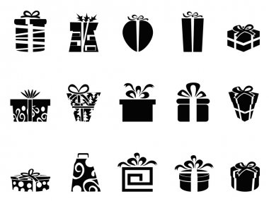 The collection of black gift box icons on white background clip art vector