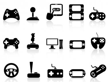 Isolated black video game and joystick icons set on white background stock vector