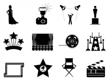 Isolated movie and oscar symbol icons on white background stock vector