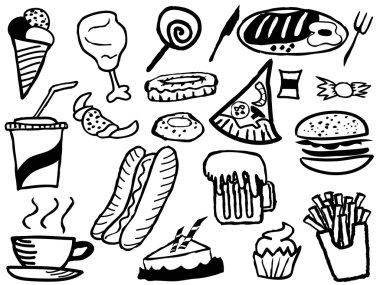 doodle junk food background