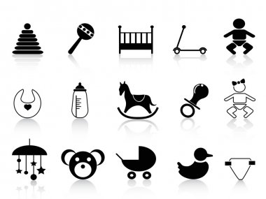 black baby icons set