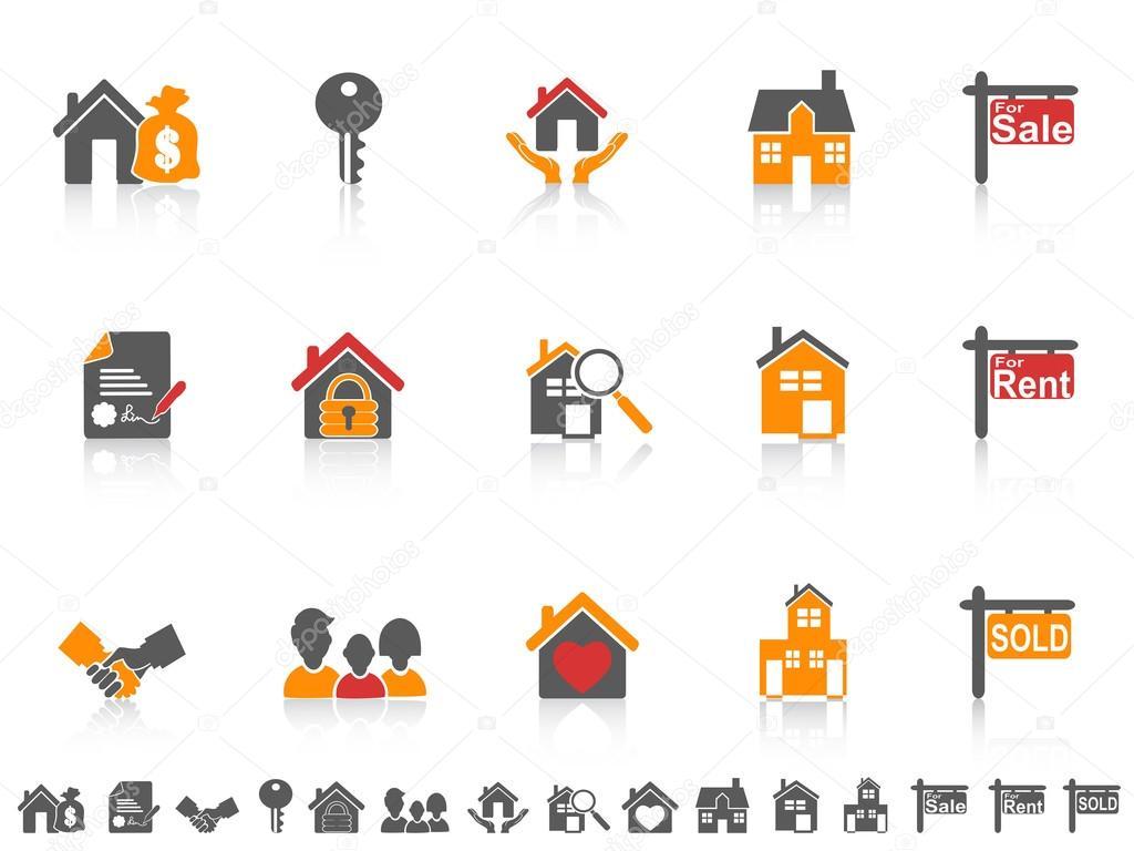 einfache Farbe Immobilien-Icon-set — Stockvektor © huhulin #25232025
