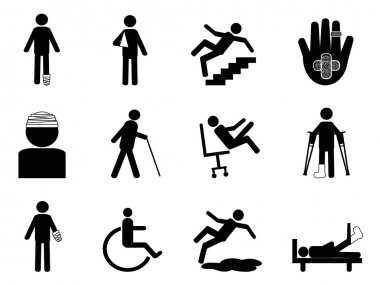 Isolated Injury icons set from white background stock vector