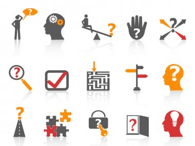 Business problem solving icons,orange color series