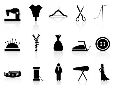 Isolated tailor icons set on white background clip art vector