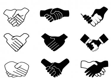 Isolated handshake icons on white background clip art vector