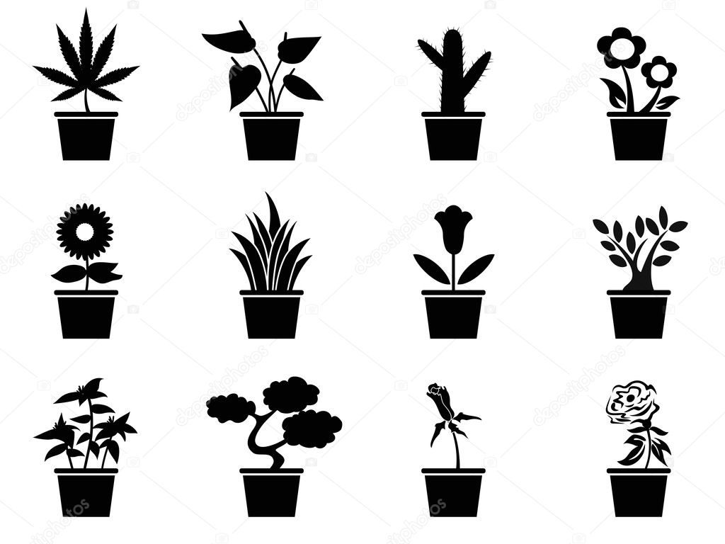 Pot plants icons set