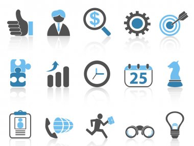 Business icons set,blue series