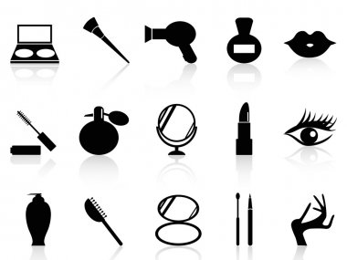 Isolated black cosmetics and makeup icons set from white background clip art vector