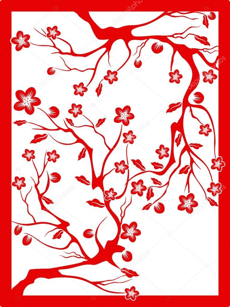Red plum blossom-paper cut