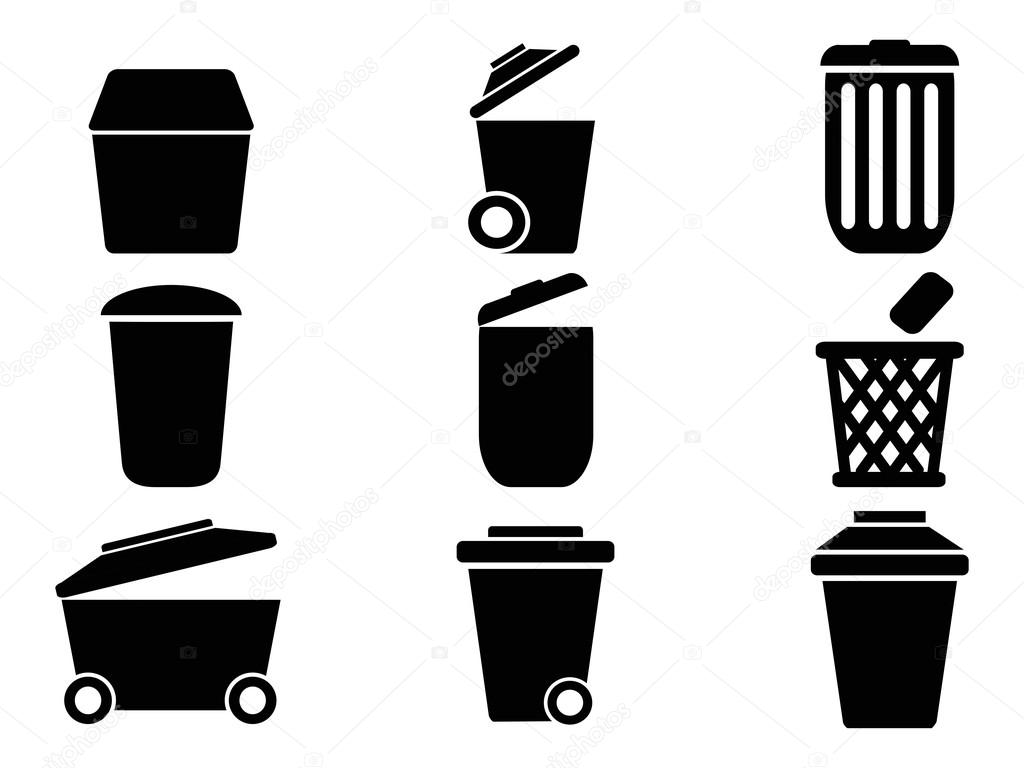 Trash Can And Recycle Bin Icons Garbage Rubbish Royalty