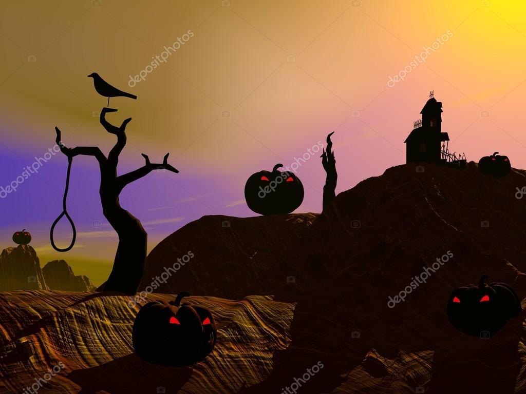 Halloween scene by sunset — Stock Photo © Elenarts #13226399
