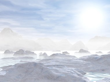 Icebergs - 3D render