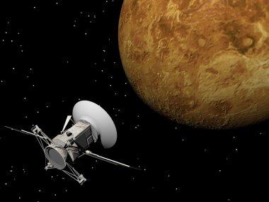 Magellan spacecraft near Venus planet - 3D render