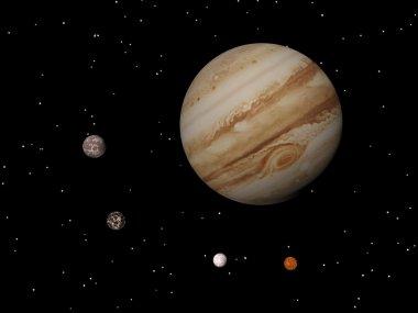 Jupiter and four galilean satellites of Jupiter (Callisto, Ganym
