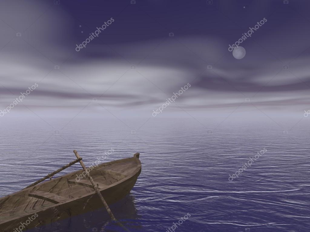 Old wood boat by night - 3d render