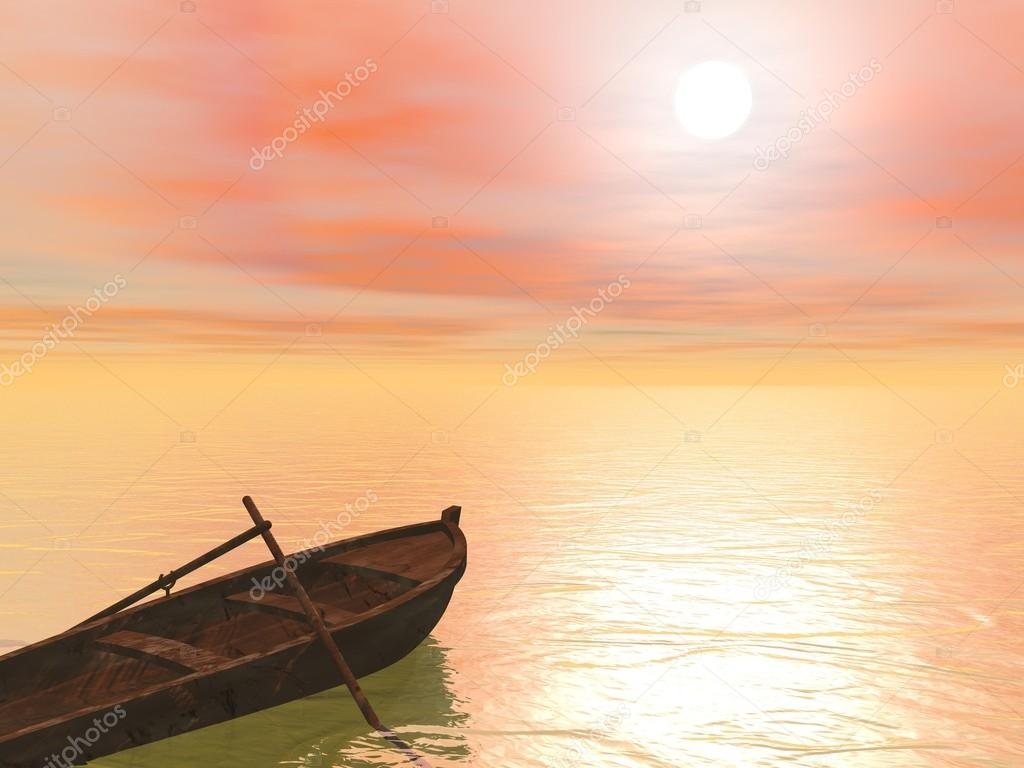 Old wood boat by sunset - 3d render