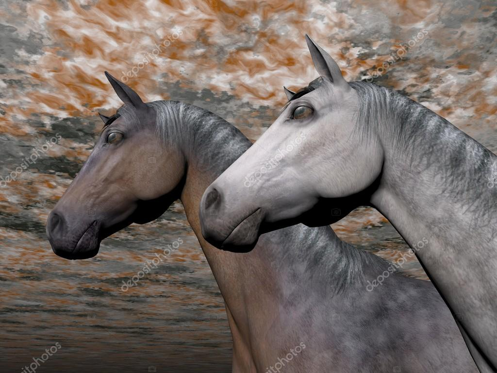 Portrait Of Two Horses 3d Render Stock Photo C Elenarts 18578911