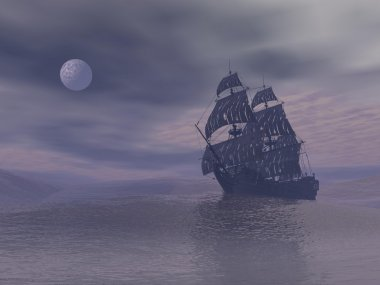 Ghost boat by night - 3D render