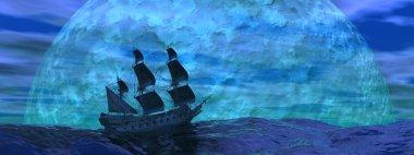 Flying dutchman boat by night - 3D render