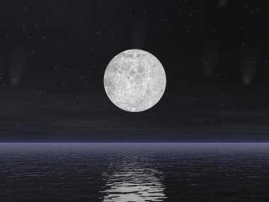 Comets and full moon - 3D render