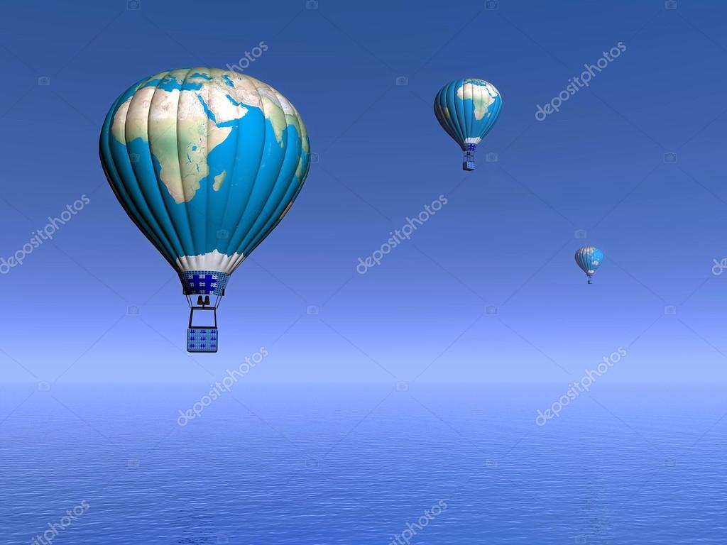 Hot air balloons with earth map - 3D render