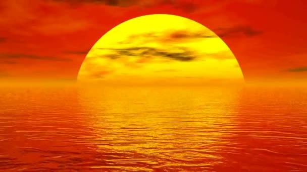 západ slunce nad oceánem - 3d vykreslení