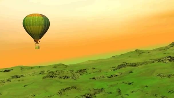 Heißluftballon fliegt auf den Hügel - 3D-Darstellung