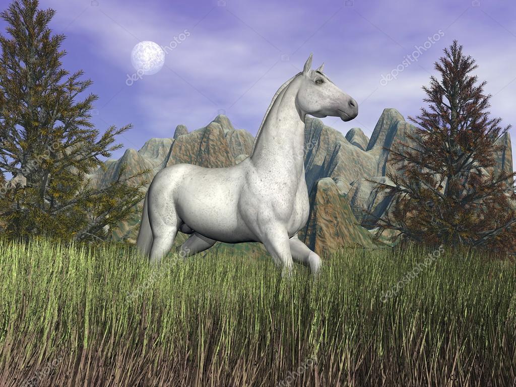 White Horse In The Grass 3d Render Stock Photo C Elenarts