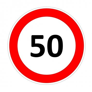 50 speed limit sign
