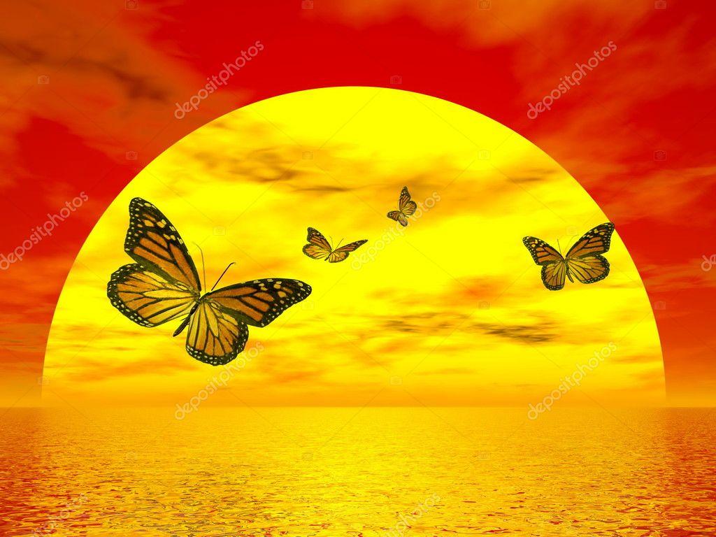 Butterflies monarch going to the sun - 3D render