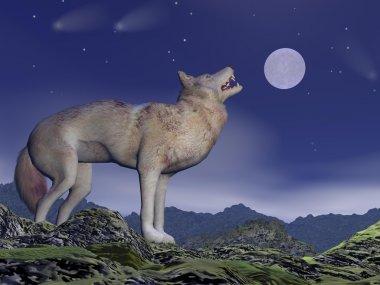 Howling wolf - 3D render