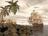 pirátská loď hledání pokladu - 3d vykreslení