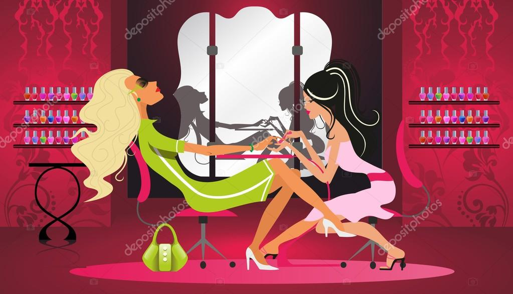 A woman gets a manicure in the salon
