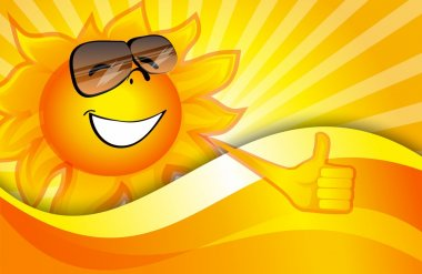 Sunny background with a smiling sun stock vector