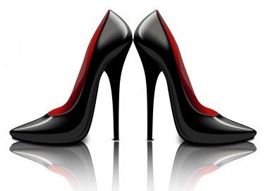 Patent leather black shoes, vector illustration